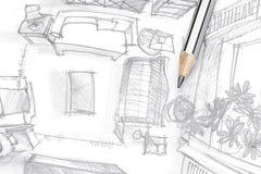 客厅家具图解剪影有铅笔的,顶视图 库存照片