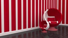 客厅椅子红色 免版税库存照片