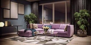 客厅现代室内设计,台湾,台北市地平线 库存图片