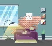 客厅现代内部 传染媒介家庭家具 免版税图库摄影