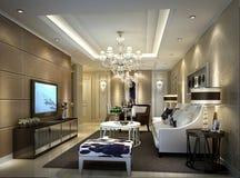 客厅的简明的样式在上海,高级公寓 库存图片
