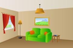 客厅米黄绿色沙发桔子把灯窗口例证枕在 库存照片