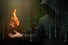 黑客展示在手边火球,火球广告插件概念 免版税库存图片