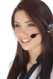 客户女孩技术支持 免版税库存照片