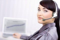 客户女性愉快的操作员服务年轻人 库存图片