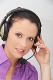 客户女性耳机运算符技术支持 库存照片