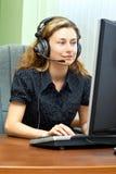 客户微笑的技术支持 免版税图库摄影
