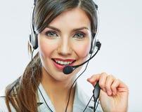 客户支持运算符 背景卡片正面问候页模板通用万维网妇女 电话中心微笑的歌剧 免版税库存图片