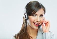 客户支持运算符 背景卡片正面问候页模板通用万维网妇女 电话中心微笑的歌剧 免版税图库摄影