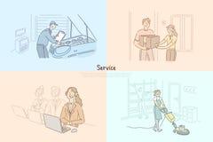 客户服务业,汽车维修车间技工,技术支持,电话中心,命令交付横幅模板 皇族释放例证
