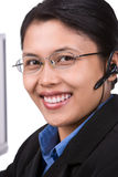 客户服务部微笑的vert 图库摄影