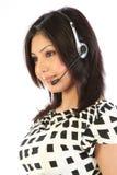 客户查出运算符微笑的支持妇女 免版税库存图片