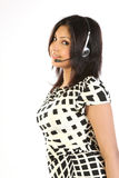 客户查出运算符微笑的支持妇女 图库摄影