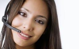 客户电话服务联系的妇女 免版税库存图片