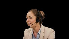 客户耳机操作员服务妇女 股票视频