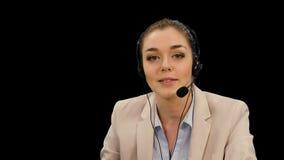 客户耳机操作员服务妇女 影视素材
