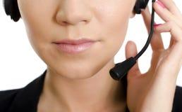 客户详细资料女性运算符技术支持 库存照片