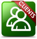客户组图标绿色正方形按钮 库存照片