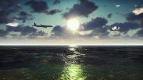 客机飞越海洋在日出 背景美好的例证夏天向量 3d翻译 免版税图库摄影
