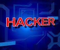 黑客标志显示未批准的间谍软件和网络 图库摄影