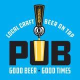 客栈工艺啤酒传染媒介与啤酒轻拍的设计象征 皇族释放例证