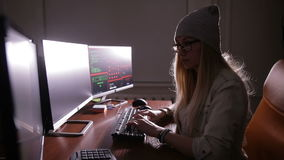 黑客编制程序,真正网络攻击概念 股票视频