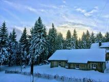 客舱在圣诞树前面的冻雪森林里, 免版税图库摄影