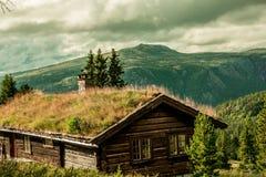 客舱在挪威的山的Rondane 库存图片