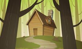 客舱在森林 免版税库存图片