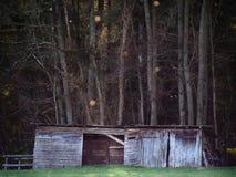 客舱或槽枥在森林 免版税库存图片