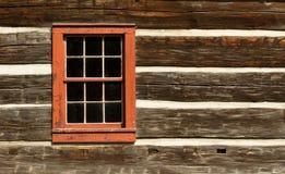 客舱日志红色视窗 免版税库存照片