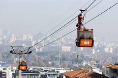 客舱滑雪电缆车挽救 免版税库存图片