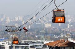 客舱滑雪电缆车挽救 库存照片