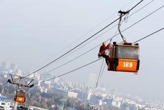 客舱滑雪电缆车挽救 免版税库存照片