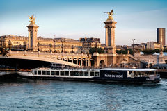 客船通过了在亚历山大桥梁下在巴黎 免版税库存照片