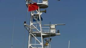 客船masttanker,游艇,小船,中国国旗 股票录像