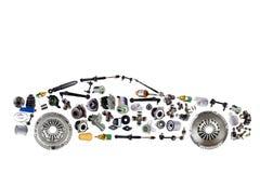 客车从商店零部件市场的新的备用的汽车零件聚集 库存照片