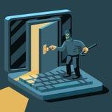 黑客闯入计算机 免版税库存照片