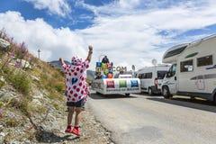 宣传有蓬卡车-环法自行车赛喜悦2015年 库存图片