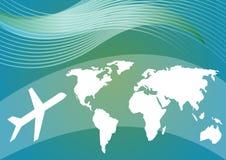 宣扬与一架飞机的风格化世界地图和剪影的旅行的背景在蓝色和绿色梯度区域的 向量例证