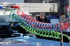 宣扬五颜六色的线路卡车 库存照片