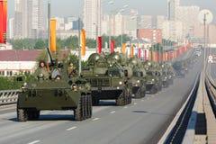 300 2008宣扬长的导弹莫斯科游行范围俄国s表面系统对胜利 免版税库存图片