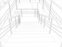 室。楼梯和栏杆 库存例证