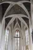 室内内部 在被保存的老教会里新生的室内装璜和墙壁绘画在Drogobigh,乌克兰 纪念碑 免版税库存图片