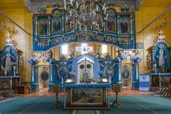室内内部 在被保存的老教会里新生的室内装璜和墙壁绘画在Goshev,乌克兰 纪念碑  免版税库存图片
