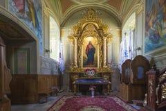 室内内部 在被保存的老教会里新生的室内装璜和墙壁绘画在Goshev,乌克兰 纪念碑  库存照片