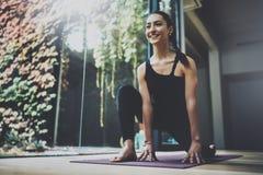 室内华美的少妇实践的瑜伽画象  在类的美丽的女孩实践asana 平静和放松 库存照片