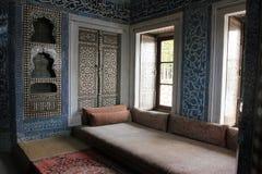 室内在Topkapi宫殿,伊斯坦布尔,土耳其 免版税库存图片