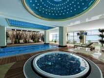 室内游泳池和极可意浴缸设计想法 图库摄影