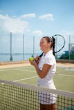 室内网球妇女年轻人 图库摄影